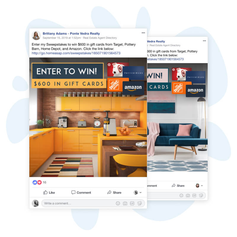Dream sweeps engages customers with automatic posts promoting your contests