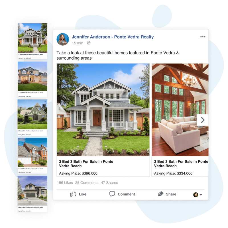 real estate listings posted to Facebook