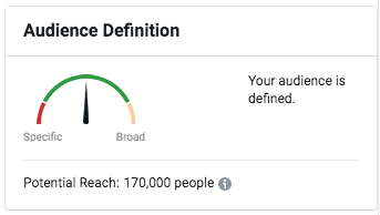Facebook ad audience size dial