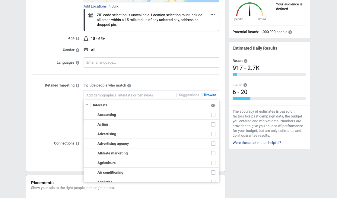 detailed facebook ad targeting options