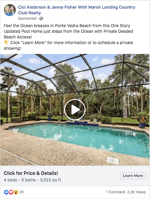 sample facebook real estate ad