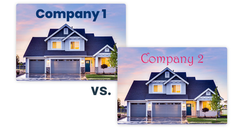 comparison of two font styles for real estate company