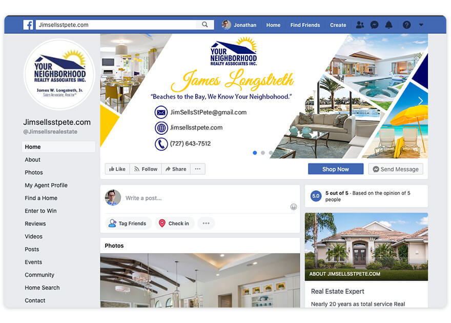 Redesigned Facebook Page for Real Estate Agent Jim Longstreth
