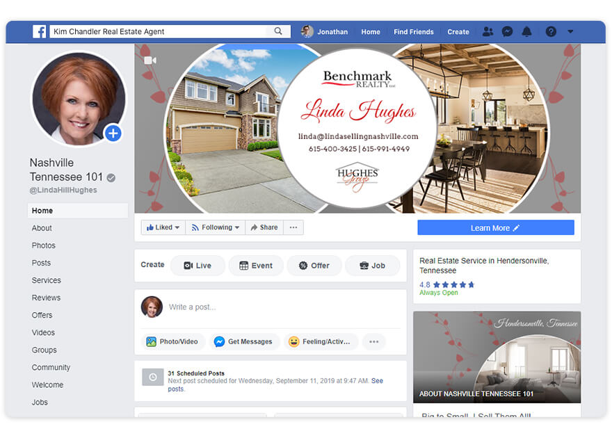 Linda Hughes Top Real Estate Agent Facebook Page Nomination