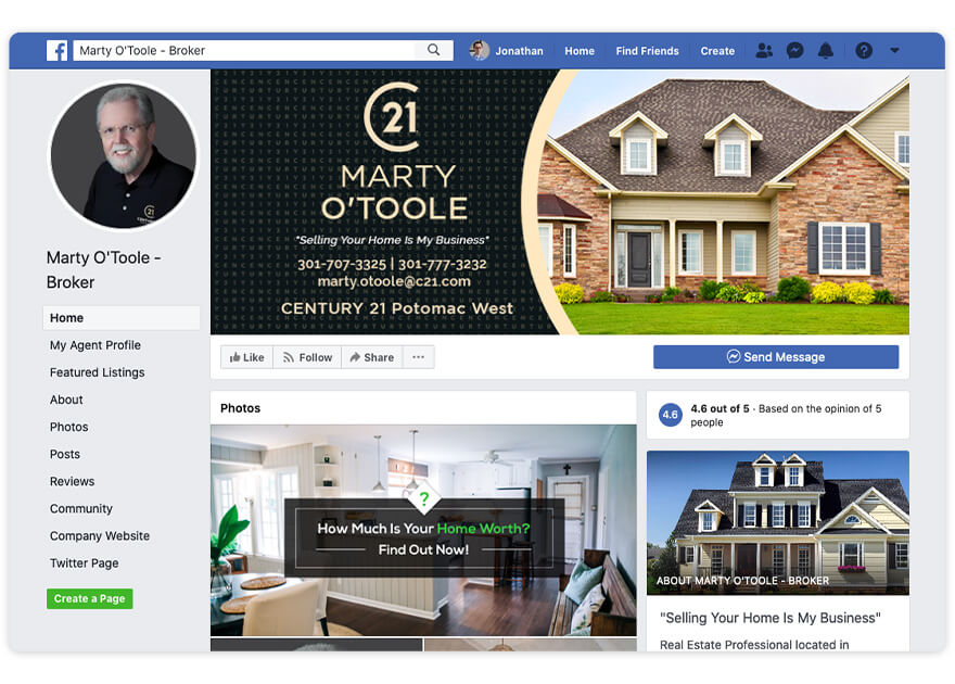 Marty Otoole Top Real Estate Agent Facebook Page Nomination
