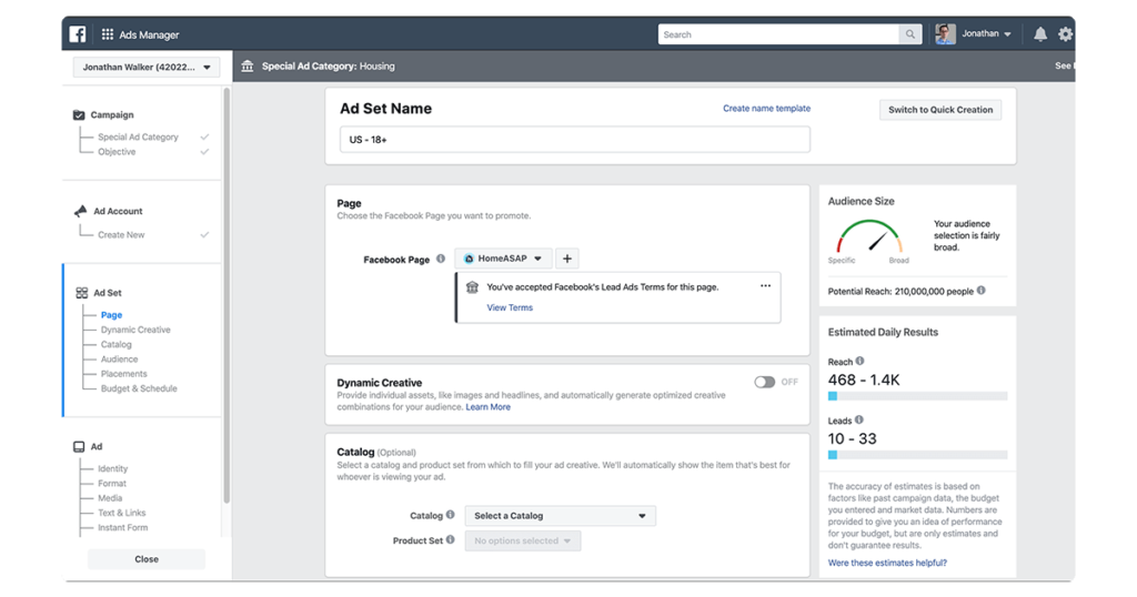 Facebook ads manager screen