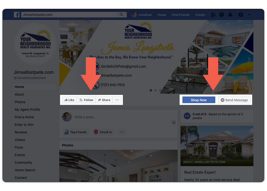 A facebook page for a real estate agent with call to action buttons