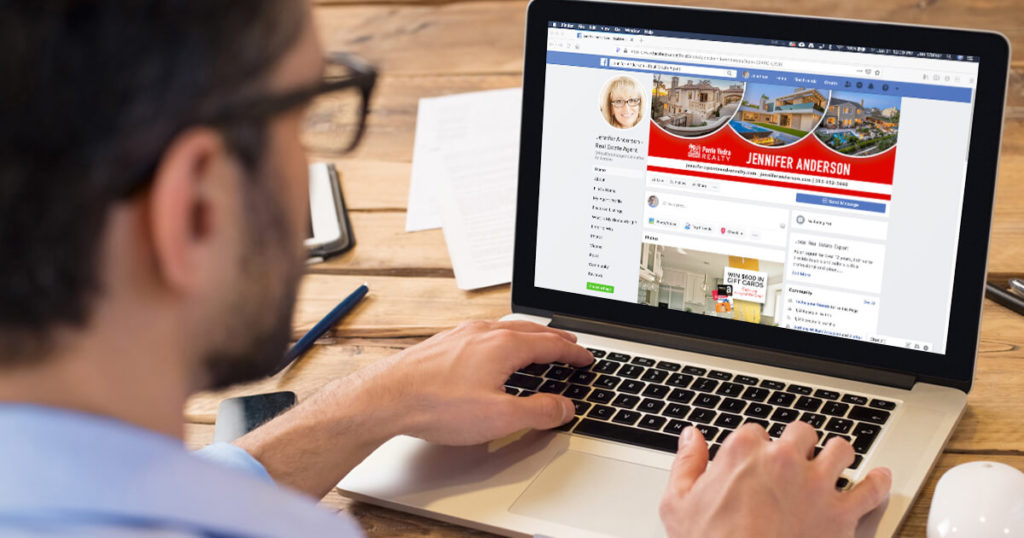 user views the Facebook page of a real estate agent