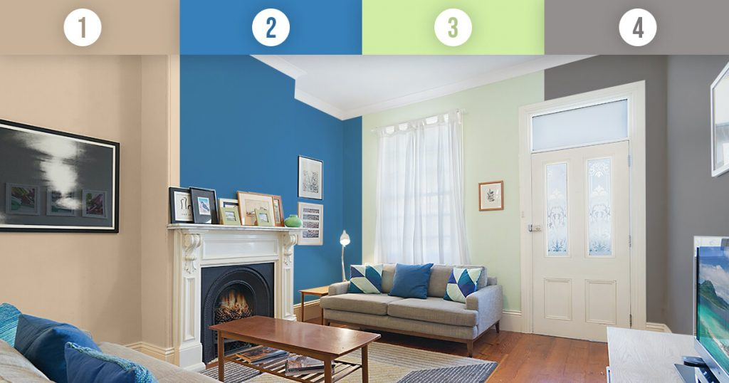 A living room shown in several paint colors
