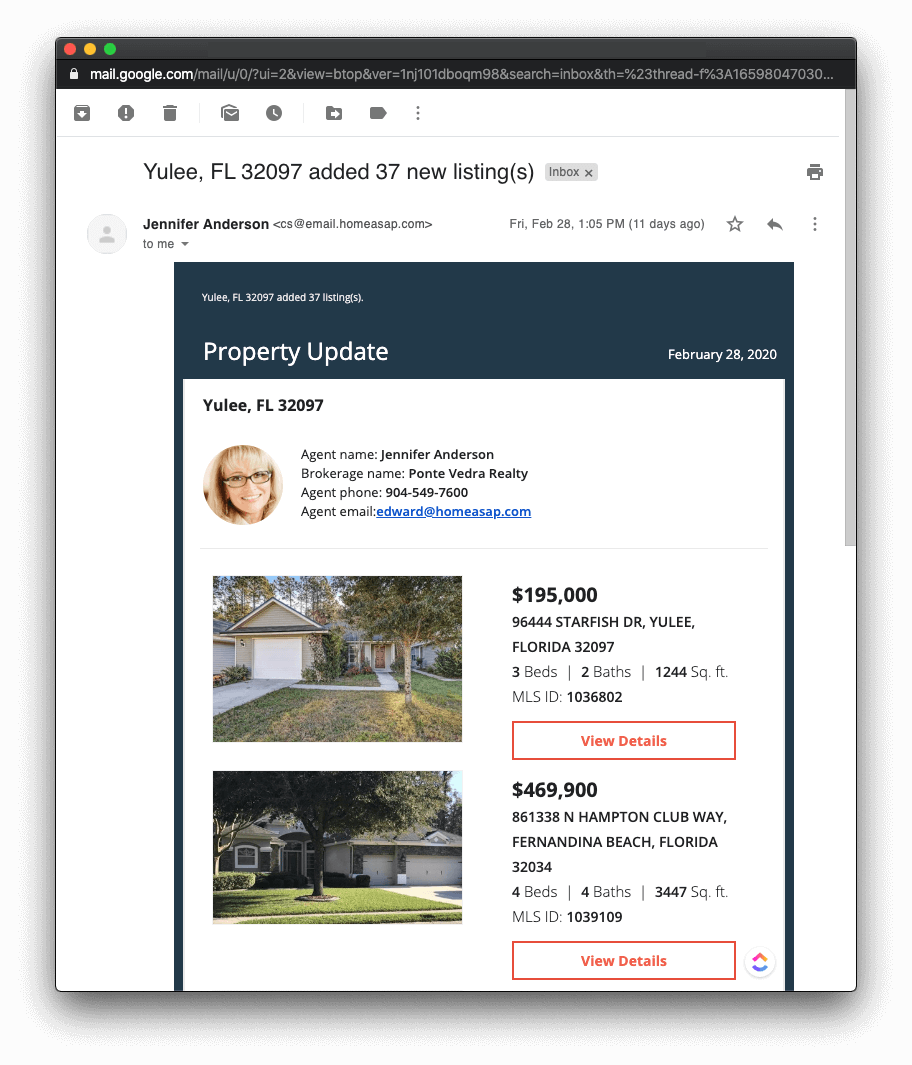 Automatic real estate lead nurture e-mail