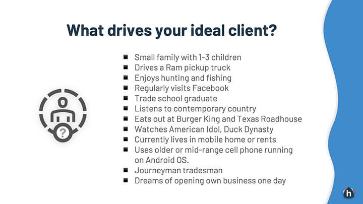 Example ideal client
