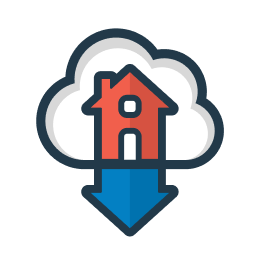 Easy MLS Listings Import logo (a cloud with an orange house inside. house shape is mirrored upside down to show transfer of listing information).