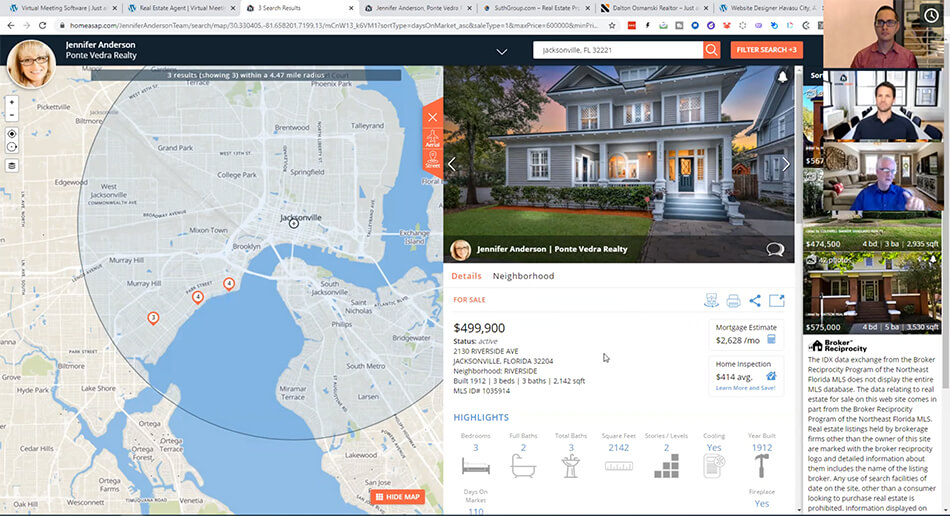 Real estate listing shown during virtual meeting