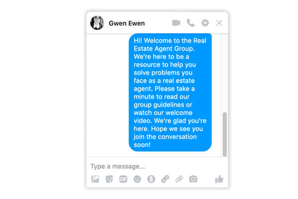 Welcome message for Facebook Real Estate Group