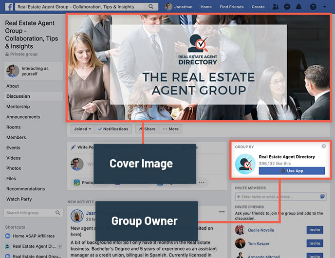 Facebook Groups Cover Image and Owner