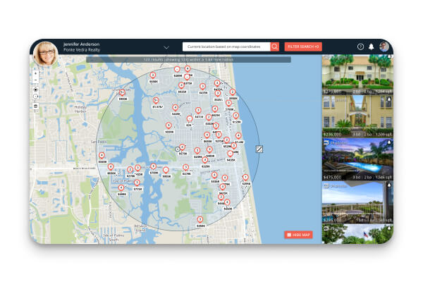 IDX Home Search results displayed in a map