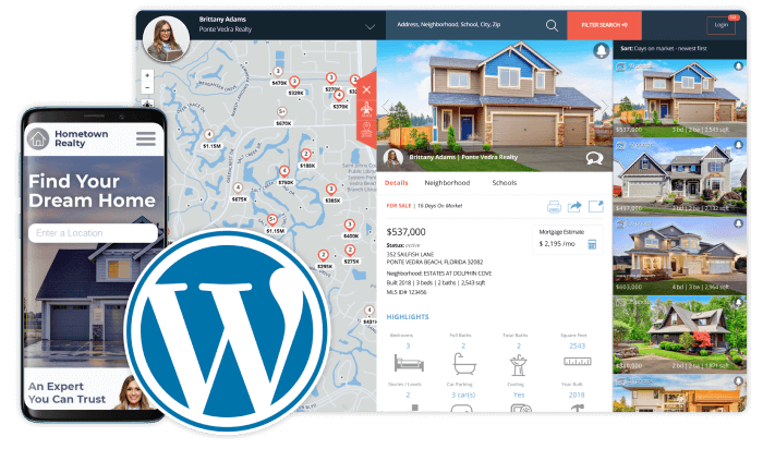 IDX Home Search plugin for WordPress shown on mobile and desktop