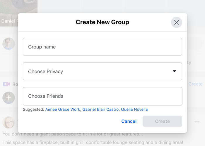Facebook group dialogue box