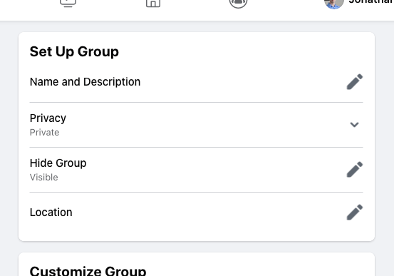 Basic Facebook group settings