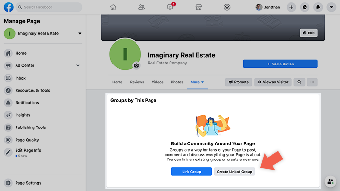 Creating Facebook group for real estate linked to agent's page