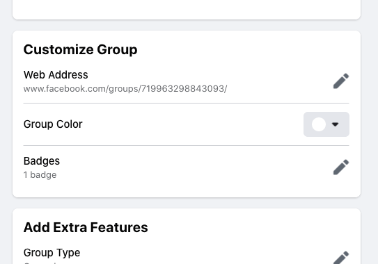 Changing facebook group url