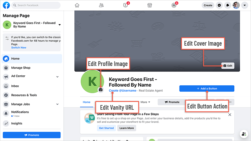 Managing Facebook page options