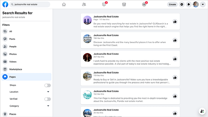 Facebook search results for Jacksonville Real Estate