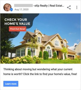 Google My Business page post for real estate