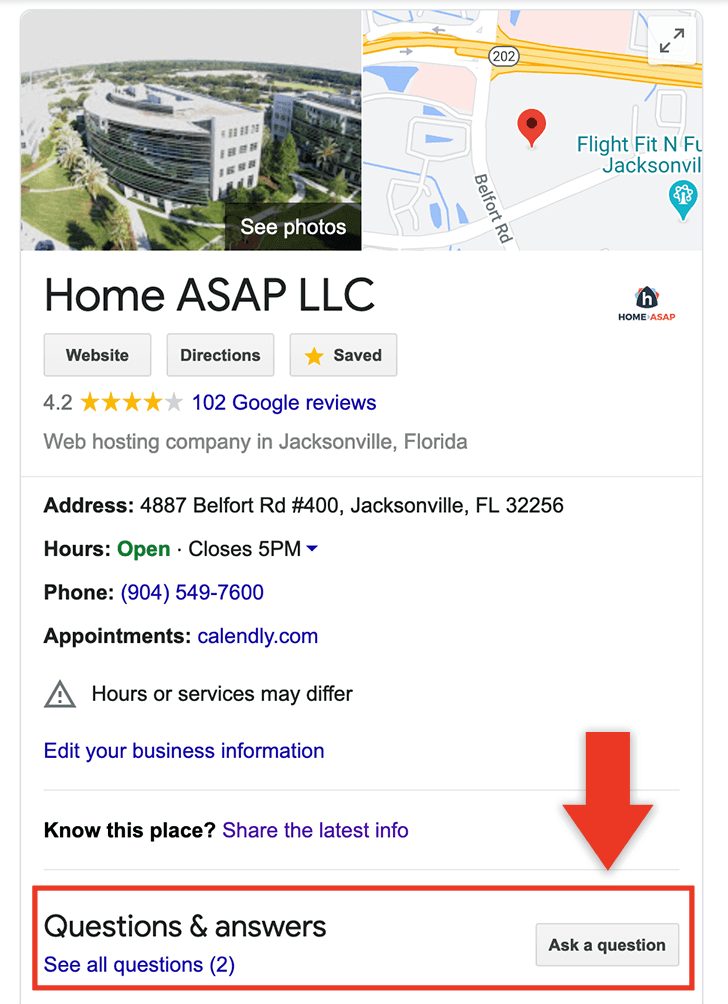 Question and answer section of a Google Business Listing