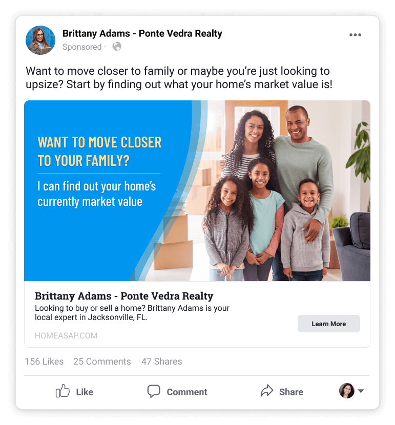 Seller Lead Ad Example With Family