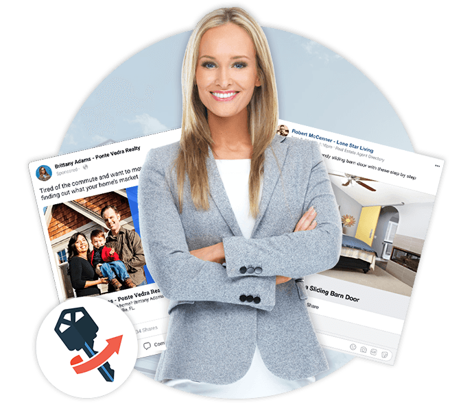 Real Estate Agent Stands In Front of Facebook Marketing Products