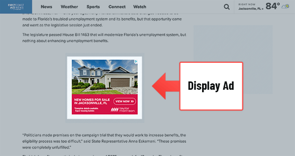 A display ad for housing shown on a news website.
