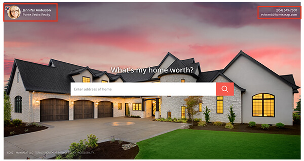 Agent Contact Information Shown Home Value Lead Form